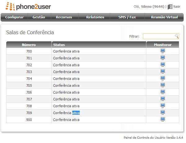 Painel de Controle do Usuário - Salas de conferência - Ativa