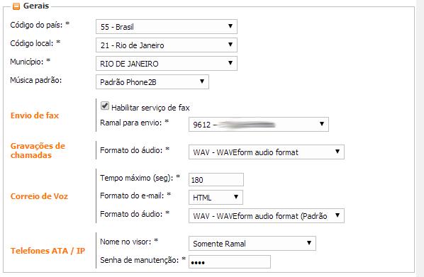 Exemplo de configurações gerais