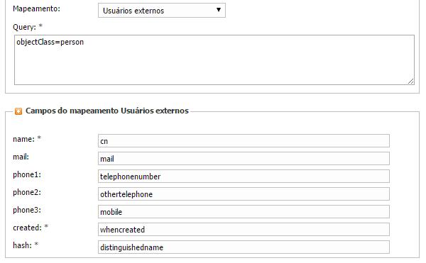 Exemplo de configuração de Tela de mapeamento para importar dados de usuários do Active Directory do Windows