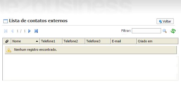 Lista de contato obtida com dados de fonte de dados externo